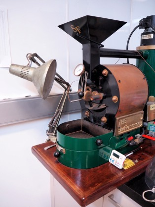 A mini roaster, where they test-roast their samples
