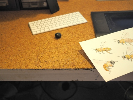 Cute bees Giselle did for a friend's wedding invite